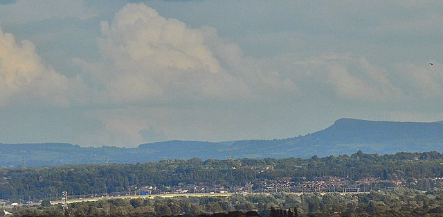 View to Bosley Cloud from Newton Road (32 miles)