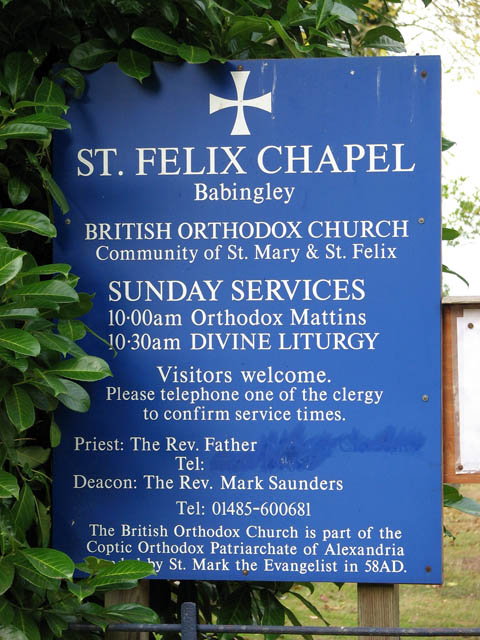 The Chapel of St Mary and St Felix - church sign