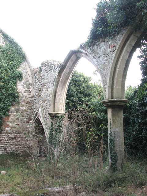 The ruined church of St Felix - south aisle arcade