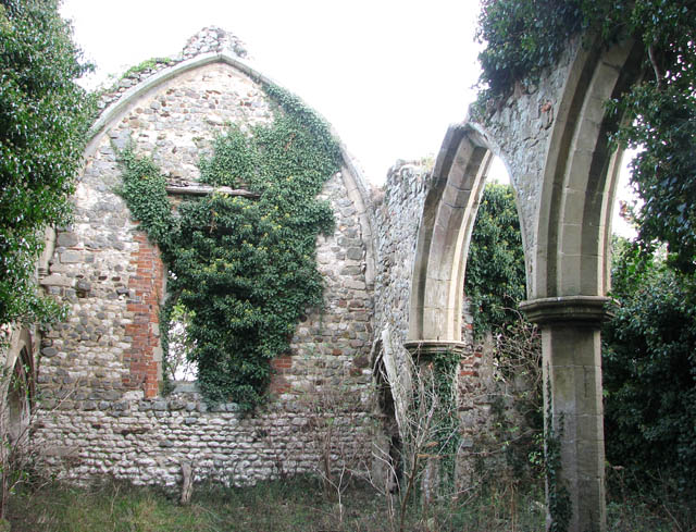 The ruined church of St Felix - blocked chancel arch