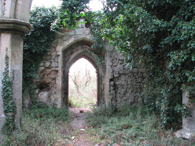 The ruined church of St Felix - view to north porch from nave