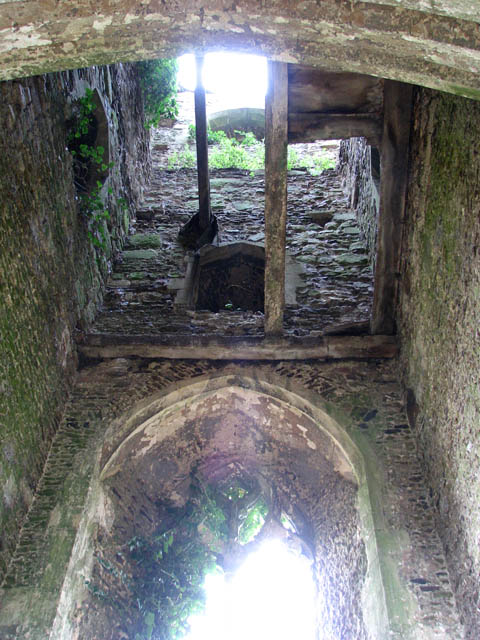 The ruined church of St Felix - view up the tower