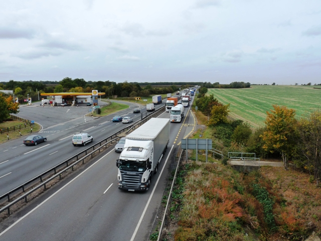 The busy A14 trunk road