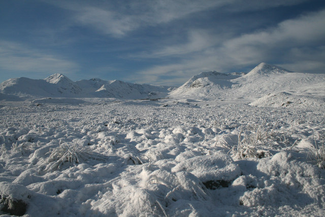 Snowclad moorland near Lochan na Stainge