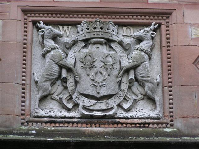 Crest of arms, Holker Hall