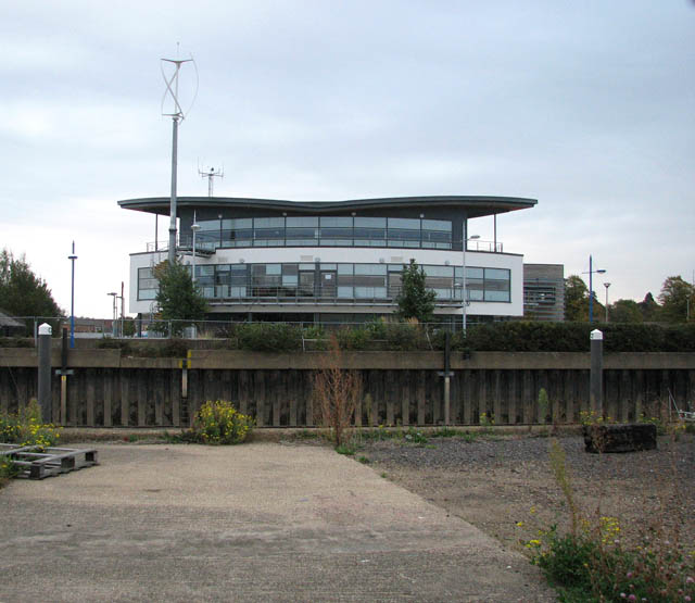 Modern building above Wisbech Yacht Harbour