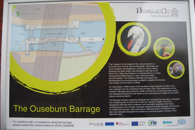 Ouseburn Barrage information board
