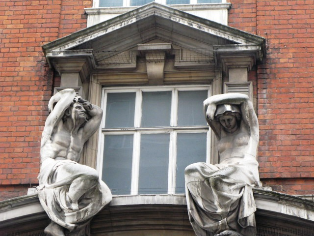Atlantes holding up fresh air, Mortimer Street, W1