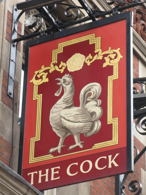 Sign for The Cock, Great Portland Street / Margaret Street, W1