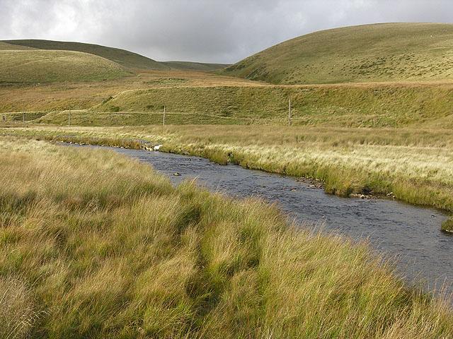 Afon Elan above Glanhirin farm bridge
