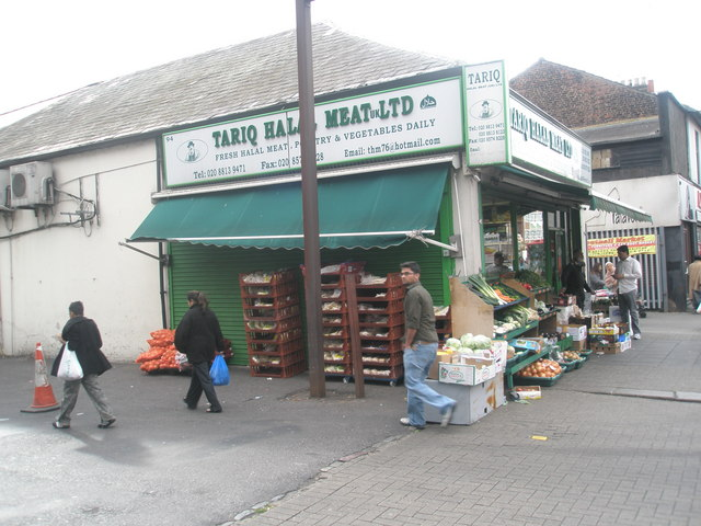 Butcher's at the entrance to Southall Market