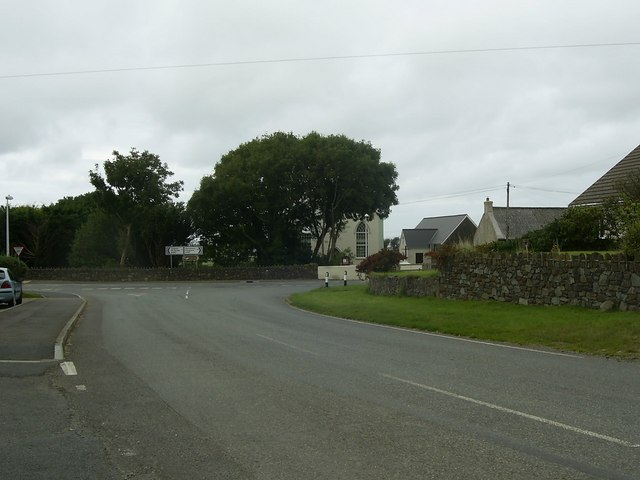 Approaching the B4330/A487 junction, Croes-Goch