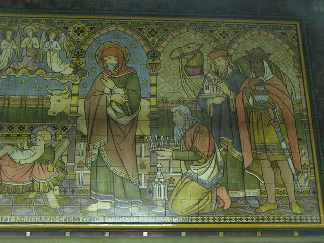 All Saints Church, Margaret Street, W1 - tiled panel (3a)