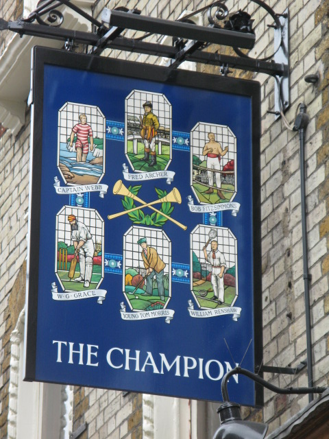 Sign for The Champion, Wells Street / Eastcastle Street, W1