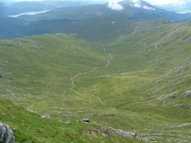 Looking down Allt Feith Dhomhnuill