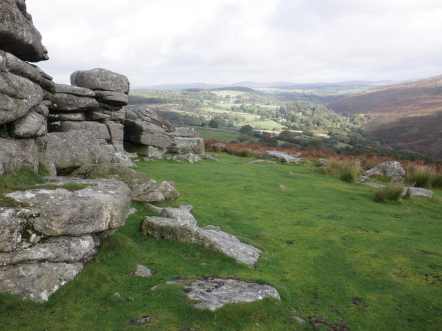 The upper Dart Valley, viewed from Combestone Tor