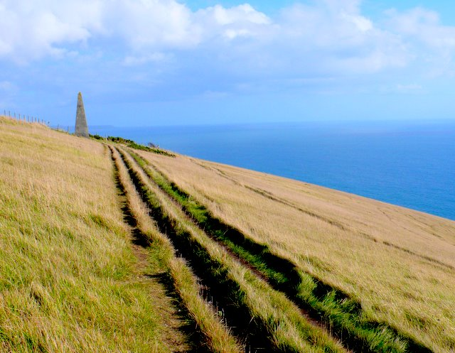 Navigation beacon and South West Coast Path