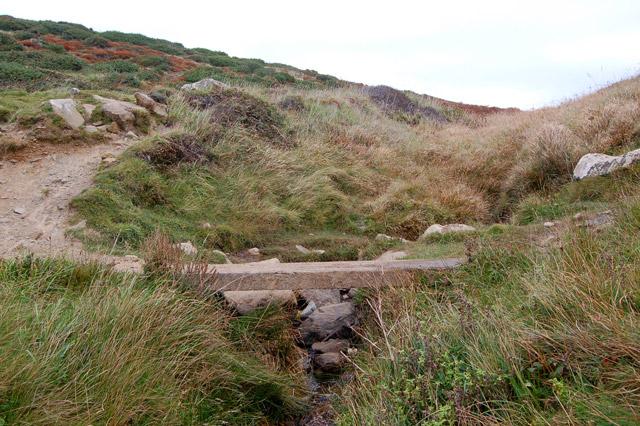 Coastpath footbridge over stream above Porthmelgan cove
