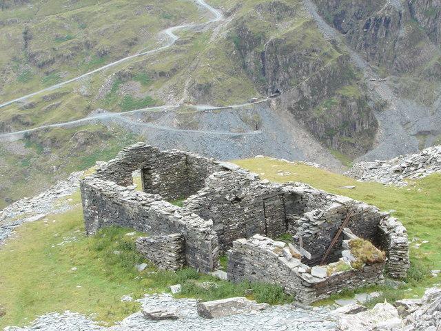 Yew Crag Slate mine ruined building