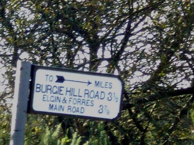 Burgie Hill Road milepost