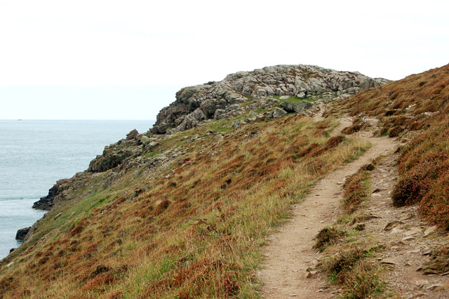 Coast path approaching Iron Age fort, St Davids Head
