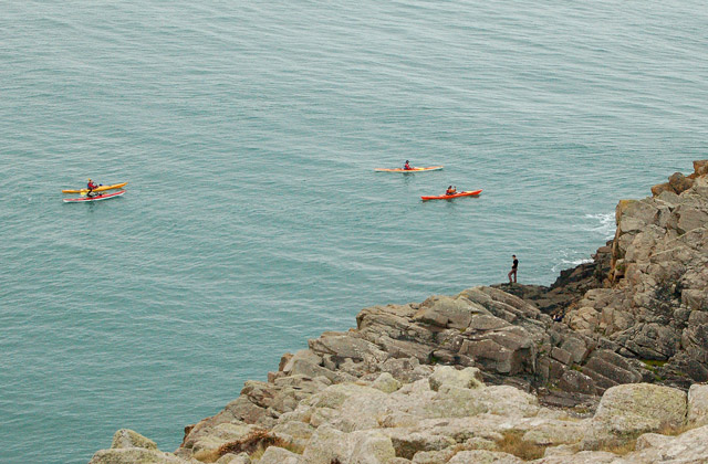 Party of canoeists rounding St Davids Head