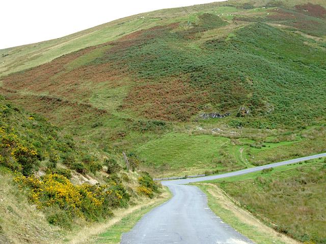 Moorland road and Esgair Garn, Powys