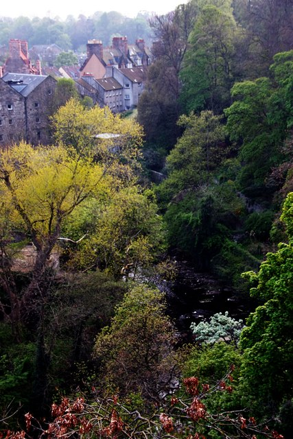 Dean Village and Waters of Leith from road bridge