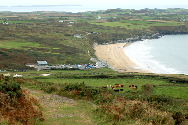 Whitesands Bay seen from the slopes of Carn Llidi