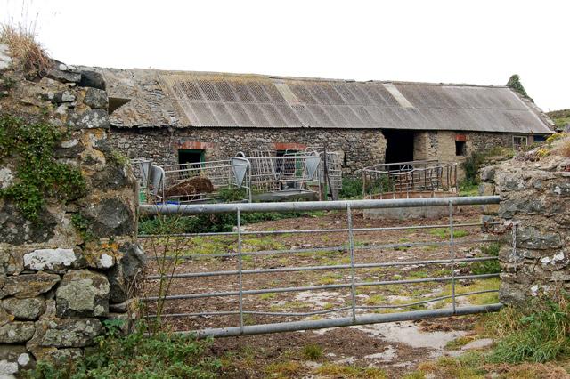 Buildings and yard at Upper Porthmawr Farm, Whitesands Bay