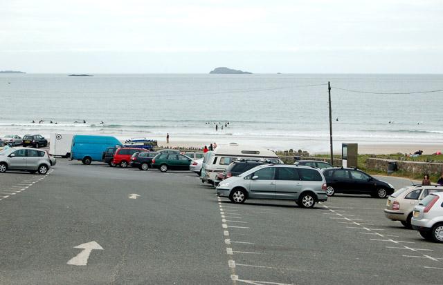 The beach carpark at Whitesands Bay