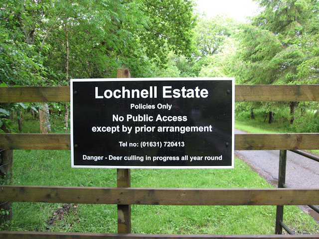 Access sign - Lochnell Estate