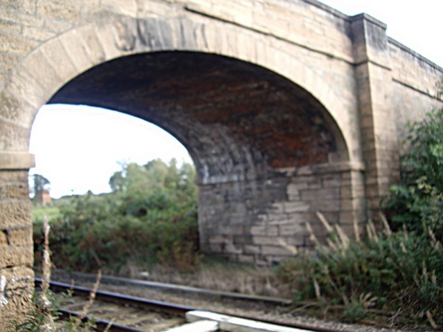 Arch of road bridge over the single-track railway