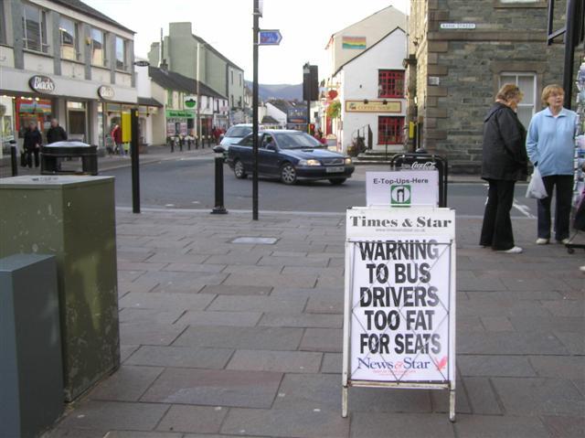Warning to bus drivers, Keswick