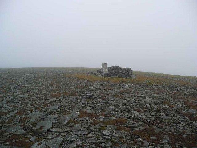 Trig point on the summit of Carn an Fhreiceadain
