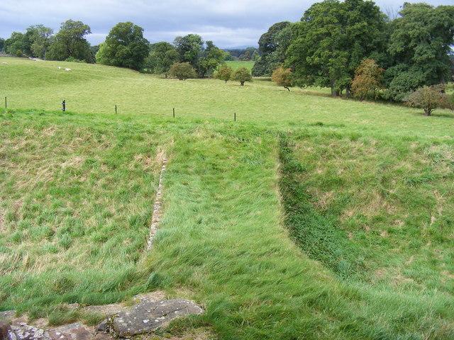 Bridge across moat at Brougham Castle