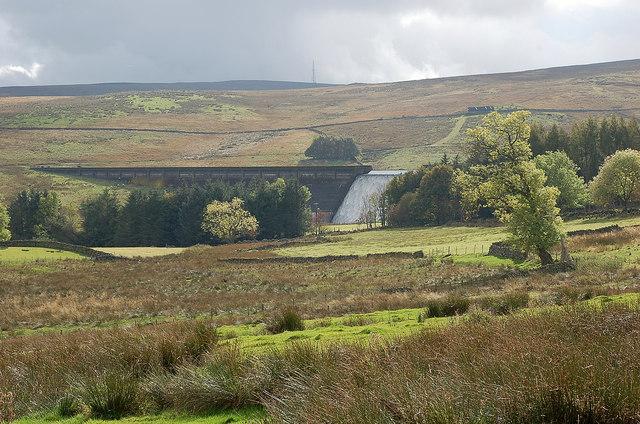 Farmland and dam, Wet Sleddale
