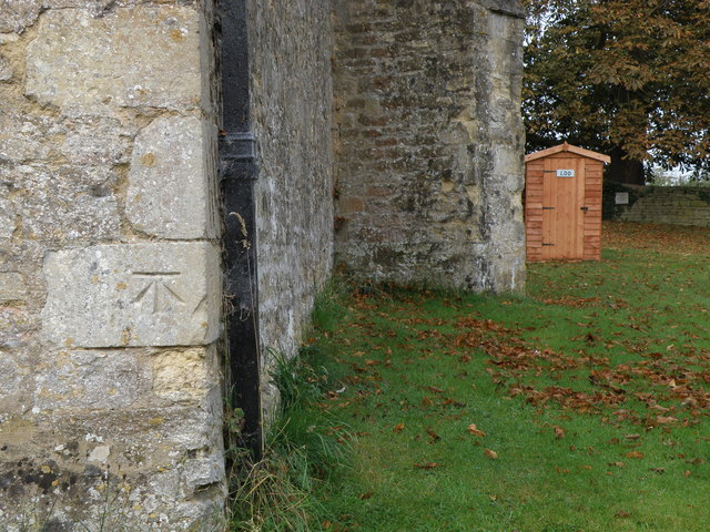 Bench Mark. Clifton Reynes Church