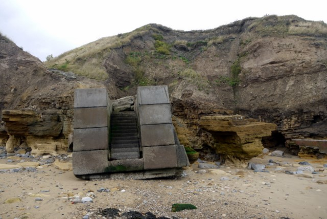 Eroded beach access at Ryehope Nook