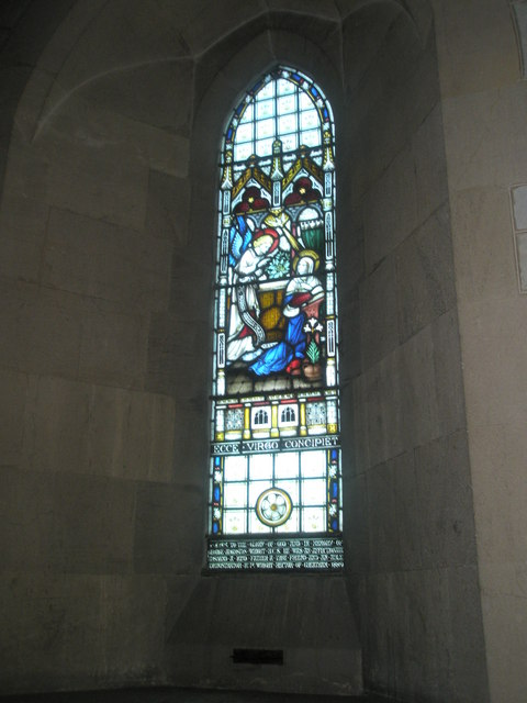 Stained glass window on the north wall at St John the Baptist, Greatham (1)