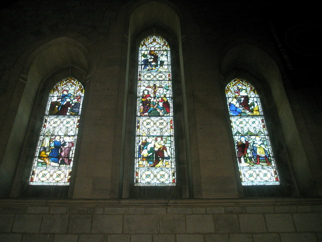 Stained glass window on the west wall at St John the Baptist, Greatham