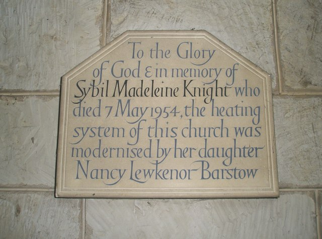 Commemorative plaque on the north wall at St John the Baptist, Greatham