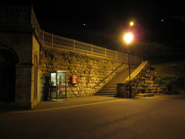 Steps north of Scarborough Spa at night
