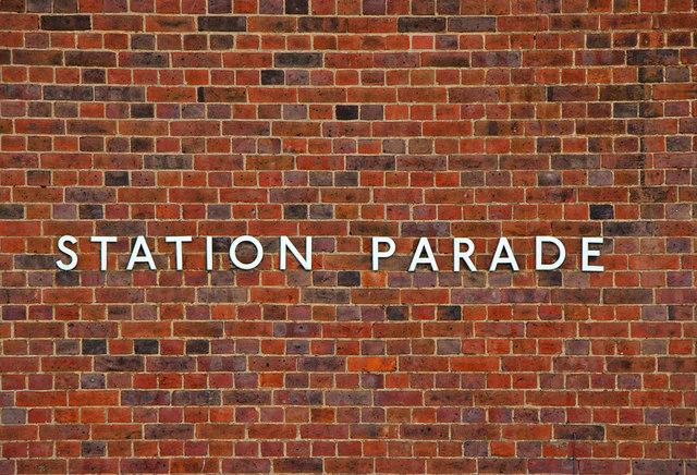 Station Parade sign, Southgate Station, London N14