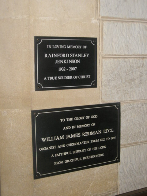 Commemorative plaques near the organ at St John the Baptist, Greatham