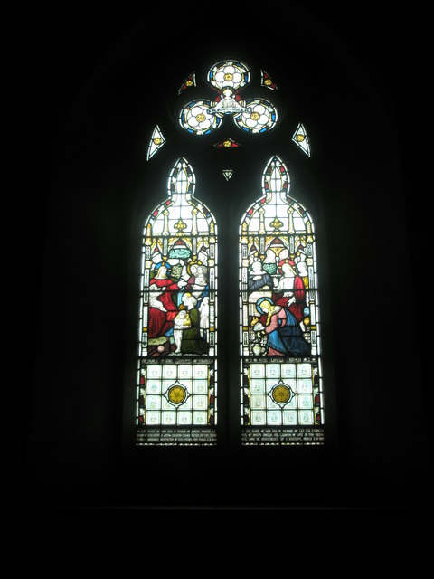 Stained glass window on the south wall at St John the Baptist, Greatham (1)