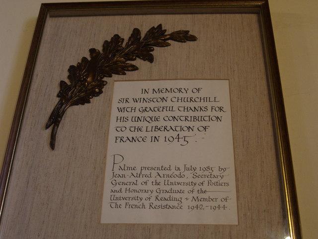Plaque to Winston Churchill