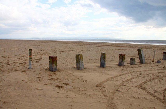 Barriers on the beach at Berrow