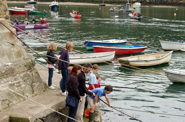 Fishing for crabs, Trinity Quay, Solva