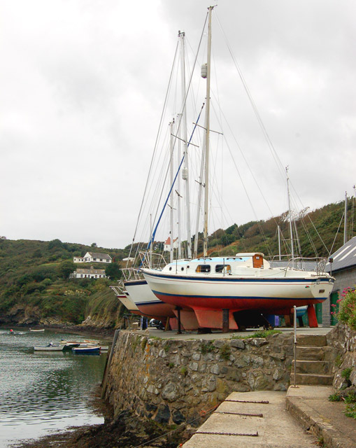 Yachts over-wintering on the quayside at Solva